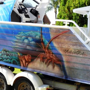 airbrush art-airbrushed-boat-red-western-crayfish4