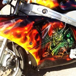 custom airbrush,Airbrushing,airbrush art,airbrush skulls,Rocket Motorbike, creative, design, graghics, flames,airbrush motorbikes2